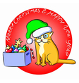 Christmas Cat and a Box of Toys vector image vector image
