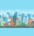 cityscape with cars city street with road town vector image vector image