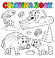 coloring book with woodland animals vector image vector image