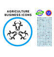 cow trinity rounded icon with set vector image vector image