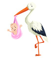 Crane delivering baby girl vector image vector image
