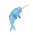 cute narwhal with horn childish marine animal vector image vector image