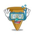 diving cartoon ice cream wafer cone vector image vector image