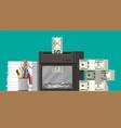 dollar banknote in shredder machine vector image vector image