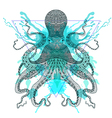 entangle stylized octopuss in triangle frame