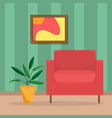 flat of the living room with an vector image