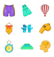 football club icons set cartoon style vector image vector image