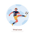 footballer wearing virtual reality headset vector image vector image