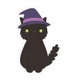 happy halloween black cat with hat costume vector image