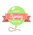happy spring festival greeting emblem vector image vector image