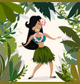 hawaiian hula dancing girl in tropical jungle vector image vector image