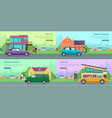 icons with vehicles cool car family transport vector image