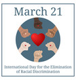 international day for elimination racial banner vector image vector image