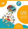 isometric car service template vector image vector image