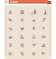 Japan travel icon set vector image