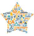 Los Angeles California icons symbols landmarks vector image vector image