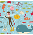Marine life seamless vector image vector image