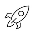 monochrome black line rocket simple icon space vector image