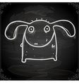 Monster with Floppy Ears Drawing on Chalk Board vector image vector image