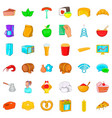 oven icons set cartoon style vector image vector image