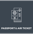 passport and ticket icon vector image