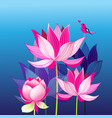 pink lotuses and a love bird vector image vector image