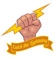 Realistic hand holding lightning bolt vector image vector image