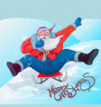 santa claus to roll on sledge from the mountain vector image