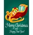 Santas sleigh with gift box Christmas holiday card vector image vector image
