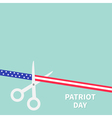 Scissors cut american flag ribbon Patriot day vector image
