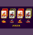 set four jokers playing cards suits for poker vector image