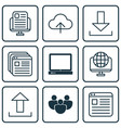 set of 9 world wide web icons includes pc data vector image vector image