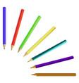 set of colored pencils crayons isolated on white vector image