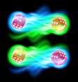 set of two red dices in blue and green fire vector image vector image