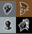 skull and knight helm logo set vector image