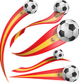 spain flag set with soccer ball vector image vector image