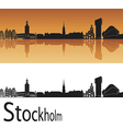 Stockholm skyline in orange background vector image