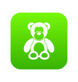 teddy bear icon digital green vector image