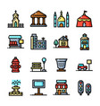 thin line city environmen set vector image vector image