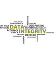word cloud data integrity vector image vector image