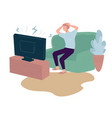 worried man watching tv at home panic and stress vector image vector image