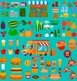 Big set of food icons Food truck Market vector image