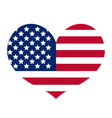 heart with the flag of america icon flat style vector image