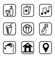 hotel services icons set on white background vector image