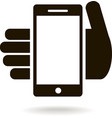 icon of mobile phone in hand vector image