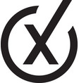 black wrong check mark icon symbol vector image