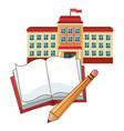 building school flag book pencil vector image vector image
