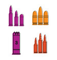 cartridges icon set color outline style vector image