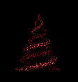 christmas tree card background red tree vector image