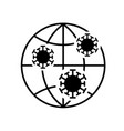 coronavirus molecules on globe icon on white vector image